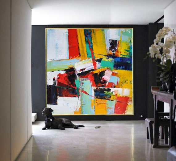 Handmade large contemporary art canvas painting by for Original modern art for sale