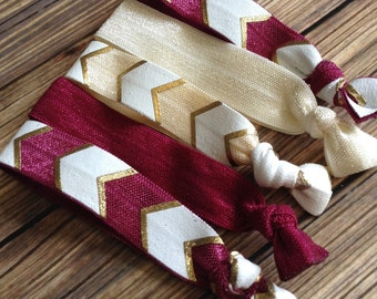 Set of FIVE Women's Elastic Hair Ties, Maroon and Ivory Aztec Gold Chevron Hair Ties, Indiana University, Florida State