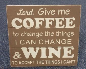 Coffee Wine Distressed Wood Sign - Brown - Shabby Chic - Coffee Wine