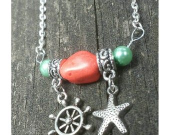 beach necklace, nautical necklace, coral necklace, gift for beach lover, vacation jewelry, silver necklace, starfish charm, gift mom