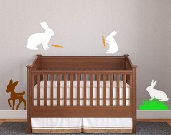 Bunnies Rabbit Deer wall decal nursery Kids