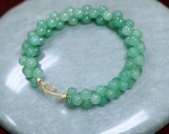 Natural Aventurine Bracelet Green Aventurine Quartz Bead Bracelet Healing Crystal Bracelet