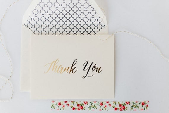 gold foil thank you cards +  lined envelopes (sets of 10) // lola louie paperie