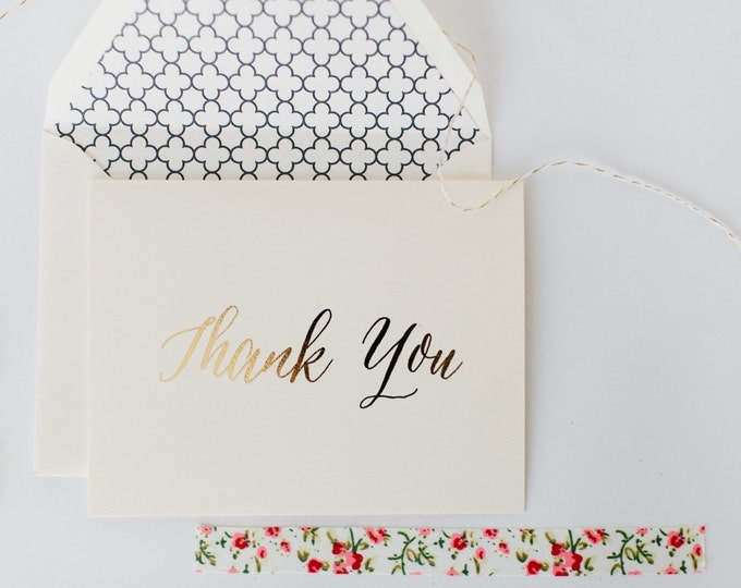 gold foil thank you cards +  lined envelopes (sets of 10) // wedding thank you cards // lola louie paperie
