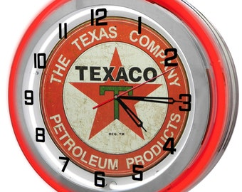 Texaco Gas Station Red Double Neon Clock