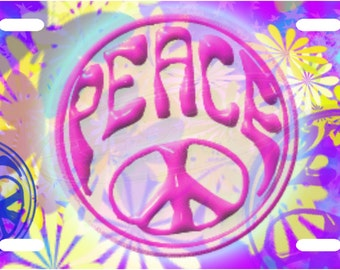 Floral Peace License Plate Tag
