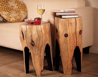 Reclaimed wood coffee table (SET OF 2), husband gift, wooden furniture, side table, tree stump table, wood furniture rustic, wood log