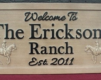 Ranch Sign Cowboy Sign Family Name Sign Carved Sign Rustic Weathered Wood Sign Personalized Sign Carved Wooden Sign Cowgirl Sign