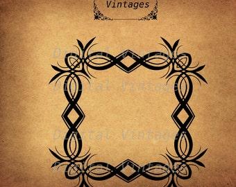 Square Decorative Frame Border Illustration Antique Digital Image Download Printable Clip Art Transfers Prints HQ 300dpi jpg png svg