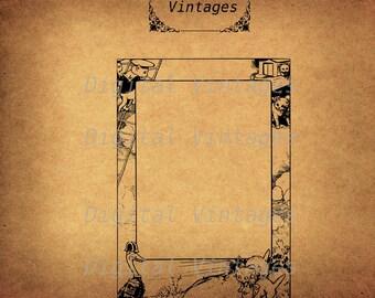Vintage Kitten Cat Cats Frame Border Illustration Antique Digital Image Download Printable Clip Art  Prints 300dpi jpg png svg