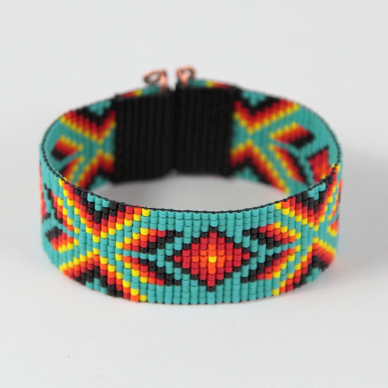 socorro bead loom bracelet turquoise bohemian boho artisanal