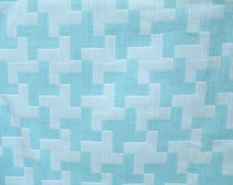 3 yds blue fabric vintage cotton double weave