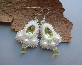 Yellow white crystal pearls beaded beadwork dangle Earrings - yellow white jewelry - wedding earrings