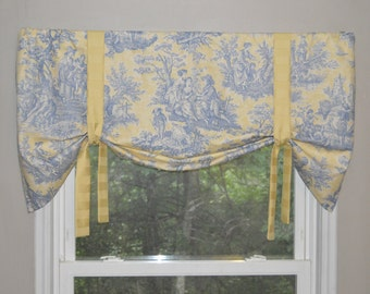 Window Treatment, Tie Up Valance, Toile Valance, Blue and yellow Valance, Chabby chic valance, Country Life authentic Waverly Window Valance