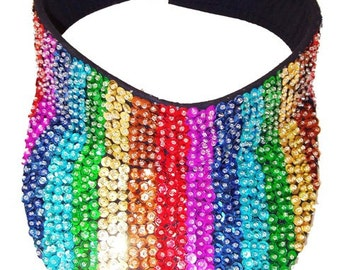 Sequin Sun Visor Multicolor Rainbow Stripes