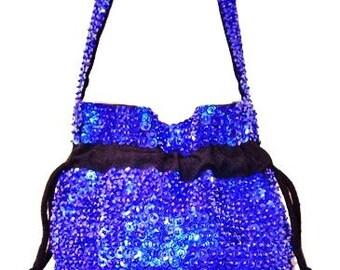 Sequin Beaded Drawstring Evening Bag Purse ROYAL BLUE