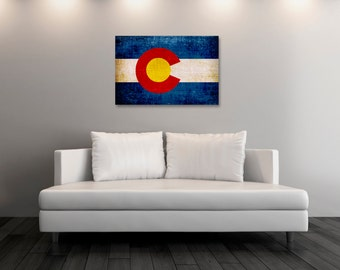 Vintage Colorado Fine Art, Colorado Flag Photo Print, Vintage Custom Art Canvas Prints, Gift Ideas, Wall Decor, State Flags [PP008-C]