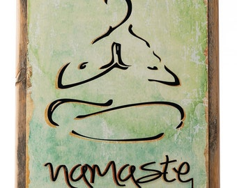 Framed Namaste Metal Sign, health and well-being, yoga, Sanskrit, Hindi, greeting, 20028F