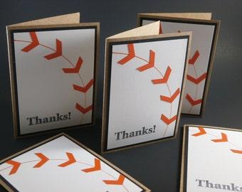 Baseball Thanks Card Bundle (set of 5)