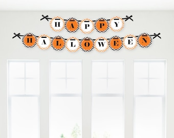 Eat, Drink and Be Scary Halloween Garland Banner - Custom Halloween Party Decorations