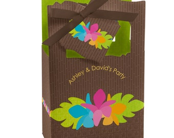 Luau Favor Boxes - Custom Baby Shower, Birthday Party, or Bridal Shower Supplies - Set of 12