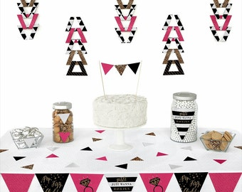 Girls Night Out - Bachelorette Party Pennant Decoration Kit with Die Cuts - Triangle Paper Party Kit for a Bridal Shower Party - 72 pc. Set