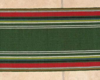 SWEDISH HANDWOVEN TABLERUNNER / Scandinavian / Swedish / Linen / Cotton / Textile / Vintage / Green / Red
