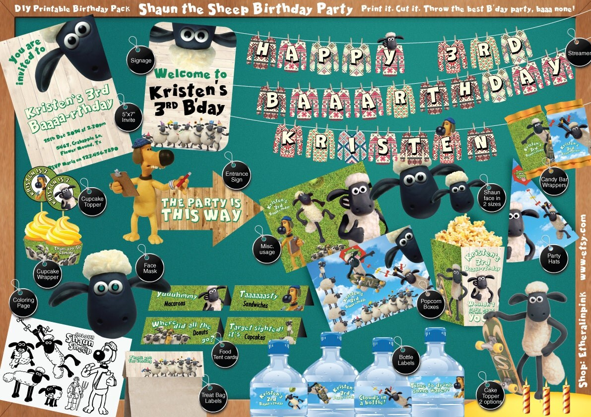 Shaun the Sheep Printable Birthday Party Pack DIY – Shaun the Sheep Birthday Card