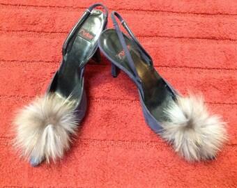 Melian Purple Suede/Fur Slingback Pumps/Heels Size 7.5M