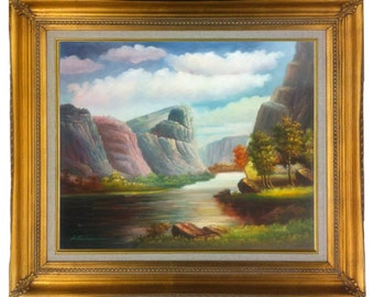 24x20 Oil Painting Yosemite Valley on Stretched Canvas only or Framed in Gold or Mahogany frame.