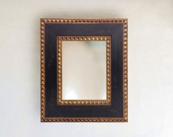 Vintage Ornate Rustic Spanish Framed Wall Mirror Distressed Brown and Gold 8x10 11x14 16x20 24x26 24x36 20x40 30x36 30x40 36x48 custom