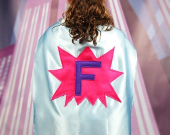 GIRLS SUPER HERO Cape - Girls Personalized Capes - Birthday Gift for Girls - Girls Dress Up - Ships Quickly - Create a Girl Super Hero