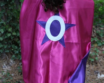 PERSONALIZED Double Sided Superhero Cape - Cape with Star, Starburst, Heart, Lighting Bolt - Custom Super Hero Cape - Birthday Cape