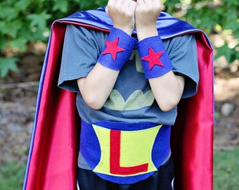 FAST SHIP - KIDS Gift -  Piece Superhero Set - Personalized Cape Set - Kids Costumes - Personalized Superhero Accessories