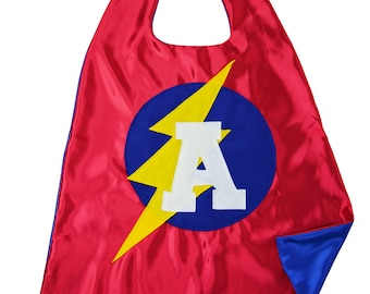 5 Year Old Boy Gift - Super Hero Cape - Child Super Hero Cape - Lightning Bolt Cape - Toddler Cape - Red Blue  - FAST Shipping - Free Masks