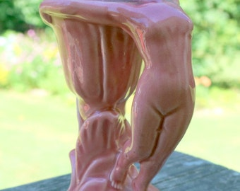 Vintage Art Deco Pink Naked Lady Vase, made in Germany