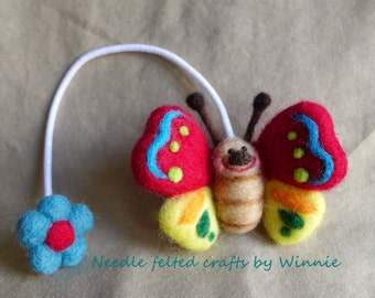 Needle felted OOAK hair ties- handmade Doll/ Butterfly/ Whale/ Chipmunk each sold individually