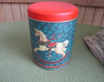 Christmas Tin Rocking Horse Christmas Tin Cookie Tin Candy Tin Holiday Tin Holiday Decor Rocking Vintage Christmas Tins Vintage Tins