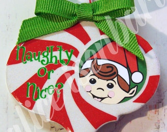 Naughty or Nice Tile Ornie (Boy) Digital Design - Instant Download