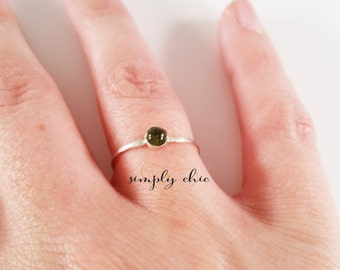 Peridot Thin Gemstone & Plain Stacking Ring Set - TWO RINGS - (Rose Gold Sterling Silver August Birthstone Stacking Rings Gifts Under 50)