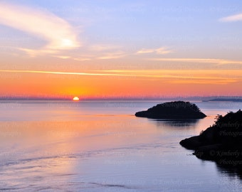 Ocean Sunset Photograph {Coastal Photo, Seascape Print, Beach Photography Decor, Picture Artwork Art, Pink Blue, Pacific Northwest Island}