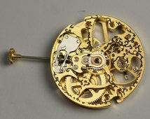 Skeleton Gold Scribed mechanical manual wind watch movement steampunk project
