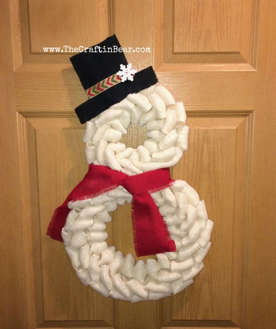 Snowman shaped burlap wreaths christmas wikii for Snowman made out of burlap