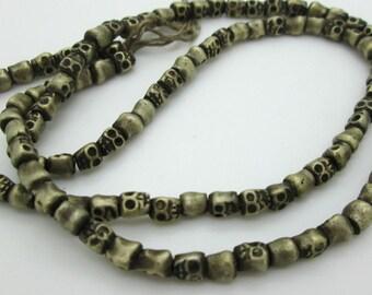 Old Brass Nepal Skull Beads, Small Skull Spacer Bead, 6x4mm (10)