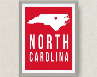 State Art Print - NCSU - North Carolina Art Print in NCSU Colors