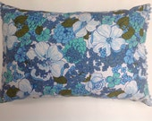 Vintage Retro flower power cushion with Pom Pom trim edging