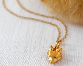 Gold Fox Charm Necklace. Add a letter charm and a personal message to the presentation card.