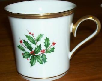 Vintage Lenox Holiday Fine China Dimension Shape Gold Mug - Holly and Berries Design