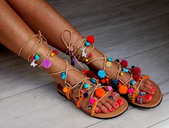 Greek Sandals, Tie Up Gladiator Sandals, Pom Pom Sandals ...