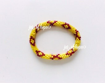 Nepal Beaded Roll On Bracelet Gift Holiday Trendy Yellow Cranberry Red